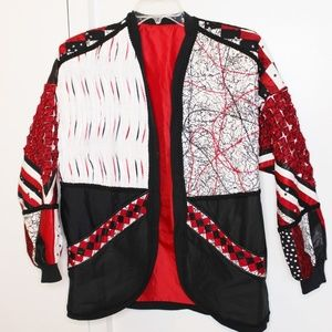 Jackets & Blazers - Red Black n White Quilted Handmade Jacket XL
